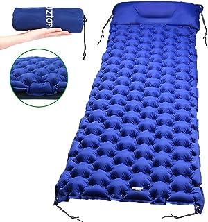 Laluztop Isomatte Camping, Schlafmatte mit Kissen 4X Seile kleines Packmaß Aufblasbare Luftmatratze aus 40D Nylon and TPU, Ideal für Camping/Reise/Wandern, 190x60x6,5cm
