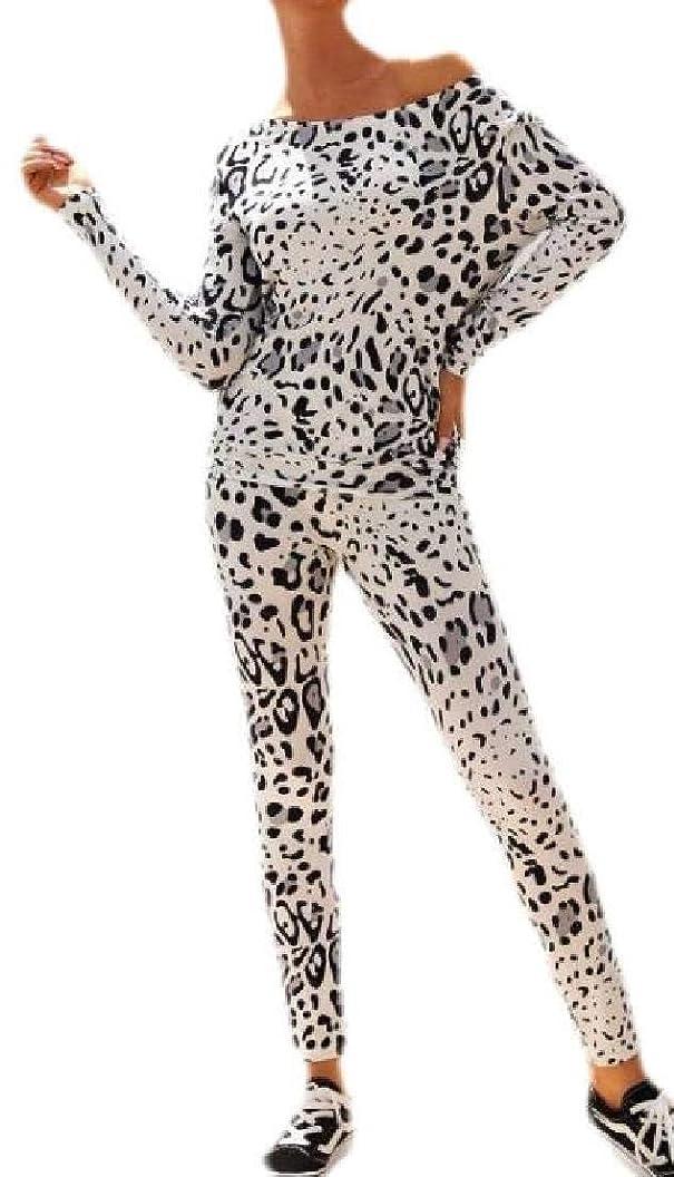 手段標高男s Leopard Print Two Piece Outfits Long Sleeve One-Shoulder Tracksuit
