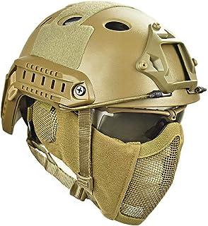 Cascos Tácticos Gafas con Máscara De Malla De Acero Casco