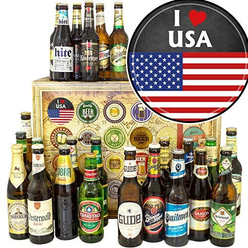 I love USA ++ Bier aus aller Welt und D 24x ++ Geschenk Paket USA/Weihnachtskalender Bier