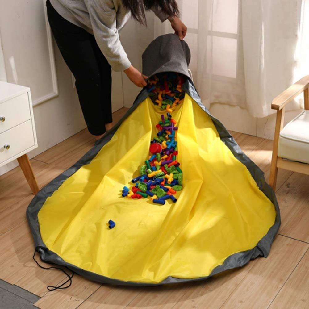 2 in 1 Toy Storage Bucket,Play Mat Slide Away Toys Clean-up Drawstring Organizer