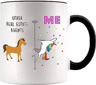 YouNique Designs Real Estate Agent Coffee Mug, 11 Ounces, White, Unicorn Mug (Black Handle)