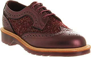 DR MARTENS Women`s Irene Limited Edition MIE Brogue Sequel Glitter Shoes Cherry Red