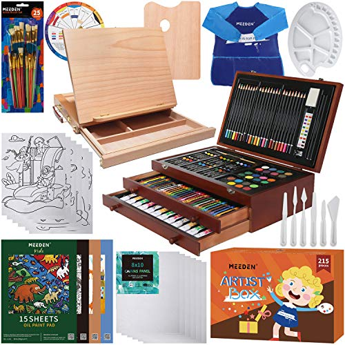MEEDEN 217pcs Painting Set Supplies with Crayons,ColoredPencils,Acrylic,Oil,WatercolourPaints,OilPastels,Sketching Pads,WoodBox ArtDrawing Set withPortable Tabletop Easel,GreatforKids & Adults