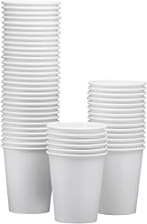 NYHI 50-Pack 12oz White Paper Disposable Cups – Hot/Cold Beverage Drinking Cup for Water, Juice, Coffee or Tea – Ideal for Water Coolers, Party, or Coffee On the Go'
