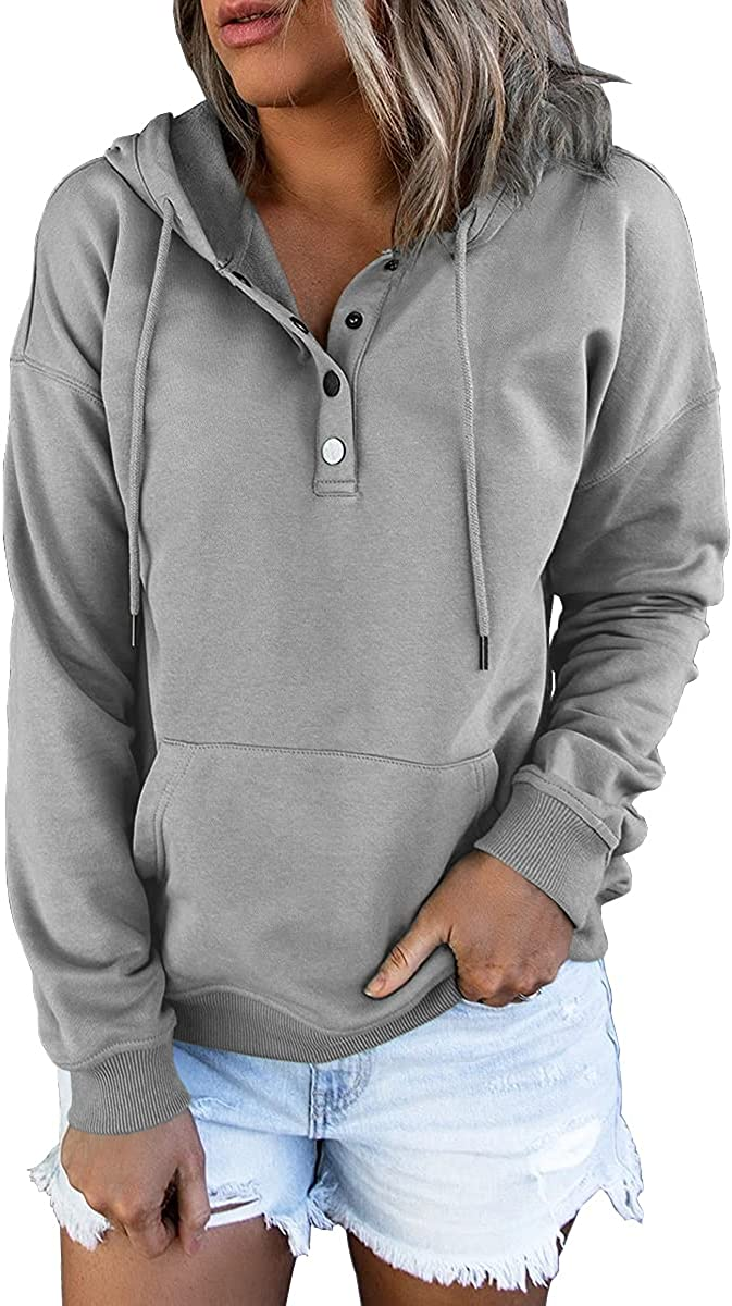 Ezymall Women's Casual Pullover Hoodies Button Down Drawstring Long Sleeve Sweatshirts Tops With Pockets