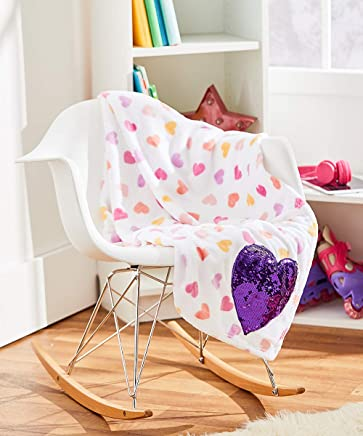 Lulu & Coco Super Soft Plush Printed Lightweight Cozy Throw Blanket with Reversible Colorful Sequins Applique Girls Teens Young Adults Gift (Heart)