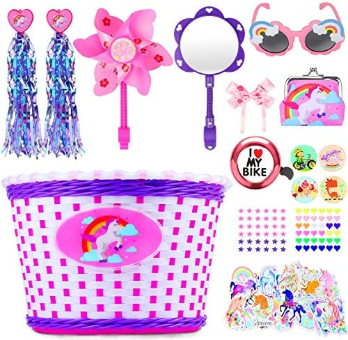 Hicdaw 135Pcs Girls Bike Basket for Unicorn Bike Basket with Kids Sunglasses Bicycle Bell for product image