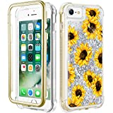 Caka iPhone SE 2020 Case, iPhone 6 6s 7 8 Case Glitter Liquid Full Body Case Built in Screen Protector Sunflower Bling Sparkle for Girls Girly Women Protective Case for iPhone SE 2020 6 6s 7 8 4.7'