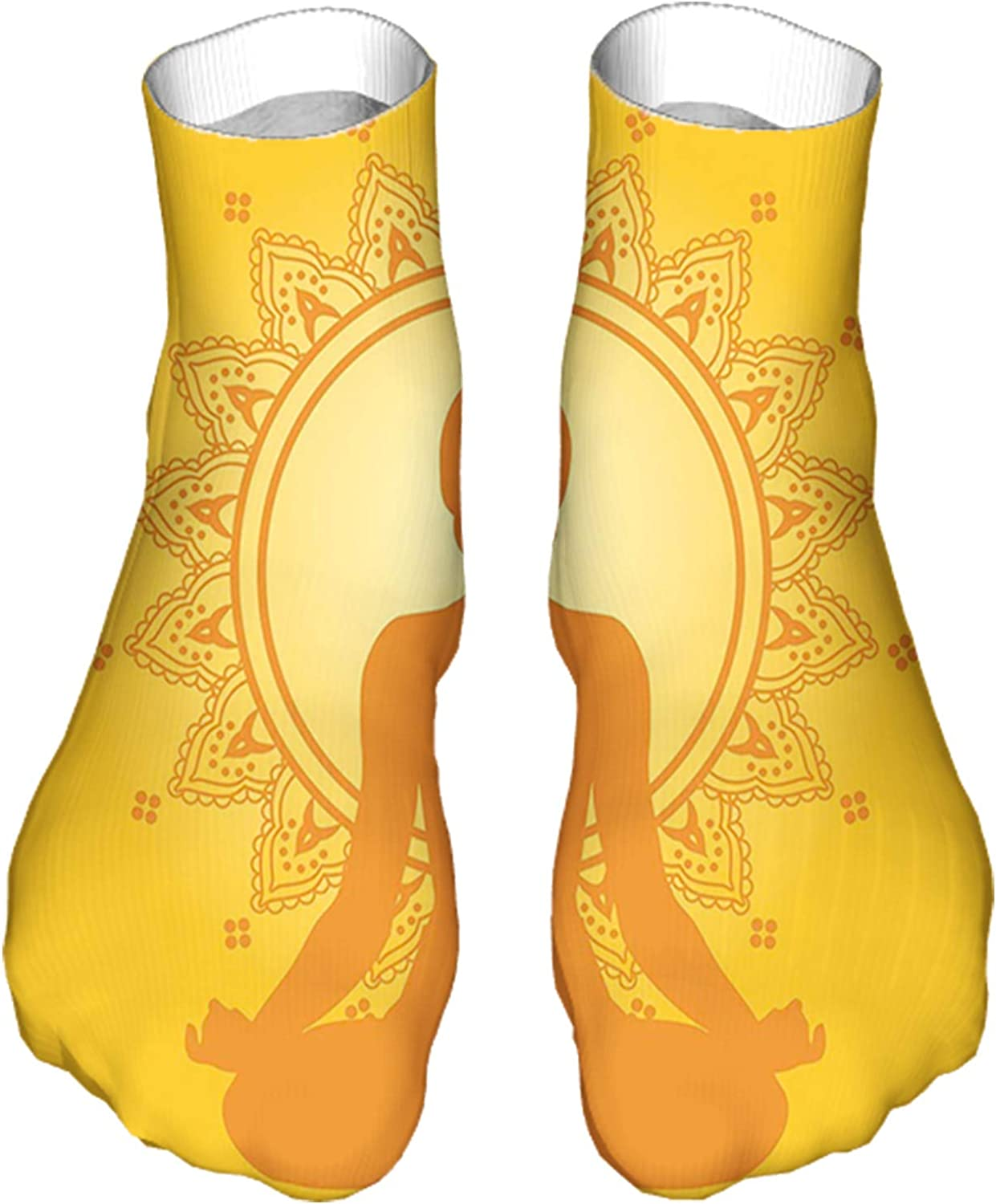 Men's and Women's Fun Socks Printed Cool Novelty Funny Socks,Meditating Woman Silhouette on Yellow Asian Style Backdrop