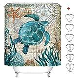 MIN-XL Duschvorhang Anti-Schimmel Textil Waschbar Anti-Bakteriel Badvorhänge 3D Wasserdicht Duschvorhänge mit 12 Edelstahl Duschvorhangringe für Badezimmer (Schildkröte & Seestern, 180 x 200 cm)