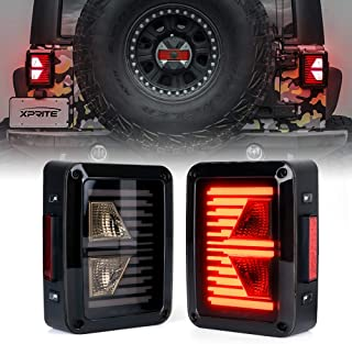 Xprite LED Tail Lights w/Turn Signal & Reverse Light Smoke Lens Taillights Assembly Replacement for 2007-2018 Jeep Wrangler JK JKU