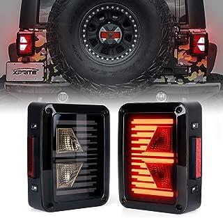 Xprite Linear Series LED Tail Lights w/Turn Signal & Reverse Light Smoke Lens Taillights Assembly for 2007-2018 Jeep Wrangler JK JKU