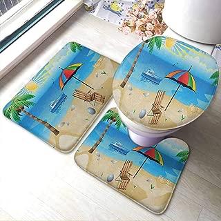 Bathroom Rugs Sets 3 Piece Beach,Colorful Cartoon Style Coast Pattern Boat Rainbow Umbrella Open Skyline Palm Tree, Multicolor,Baby Crawling Area Mats