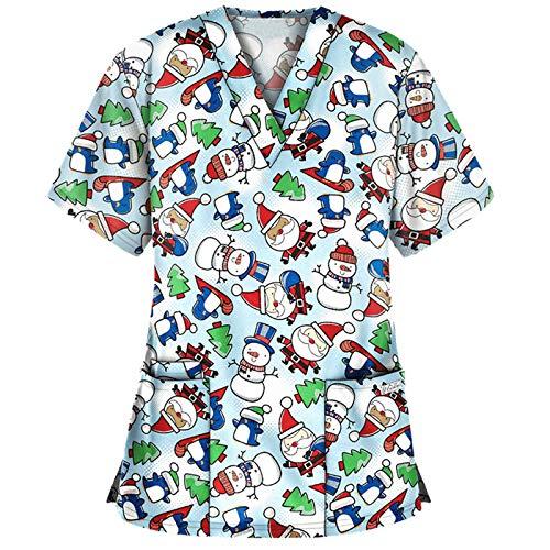 Christmas Thanksgiving Short Sleeve Top da Donna con Scollo a V, Abbigliamento per Ospedale Vino Divisa Ospedaliera Casacca Donna Camici da Lavoro Scollo V Uniformi Sanitarie per Infermiera