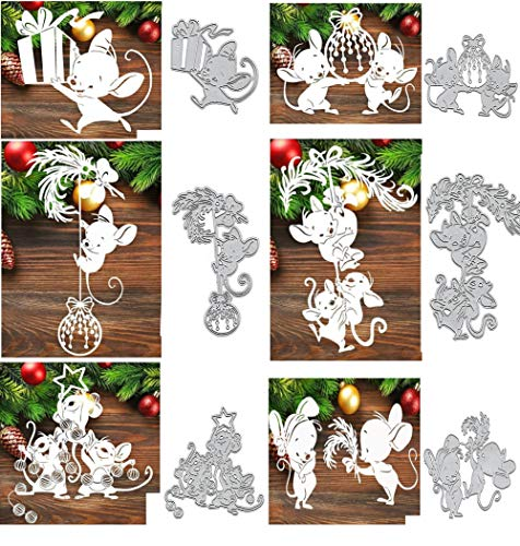 6pcs/Set Animal Mouse Metal Die Cuts, Merry Christmas Snowflake Box Feather Bowtie Bow Cutting Dies Cut Stencils for DIY Scrapbooking Album Decorative Embossing Paper Dies Card Making