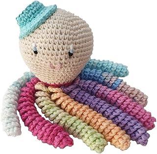 Pulpo amigurumi para recién nacido multicolor con sombrero azul. Pulpo de ganchillo - crochet para bebé ideal como regalo ...