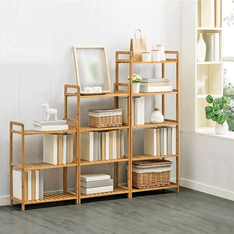 Shelves Organizer for Books Bookcase Bookshelf Ends Pure Wood Floorstanding Multifunction Study Bathroom Living Room Kitchen Strong Sturdy, QiXian