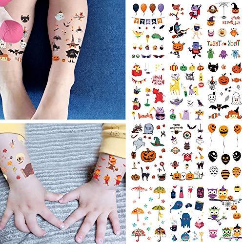 12 Pcs Cartoon Halloween Tatouage Pour Enfant Faux Tatouage Enfants Hallowmas Art Étanche Temporaire Tatouage Autocollant