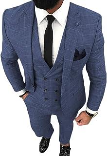 Men's 3 Piece Formal Slim Fit Plaid Men Suit Notched Lapel Prom Groomsmen Tuxedos for Wedding(Blazer+Vest+Pant)