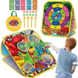 Bean Bag Toss Game Toy, Dinosaur Double Sided Cornhole Board with 6 Colorful Bean Bags, Collapsible Outdoor Toss Games for Family