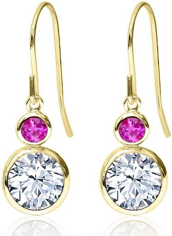 1.94 Ct Round White Zirconia Pink Sapphire 14K Yellow gold Earrings
