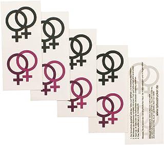 2 x Lesbian logo tattoo kaart - Lesbian symbool in roze en zwart - tijdelijke tattoo (2)