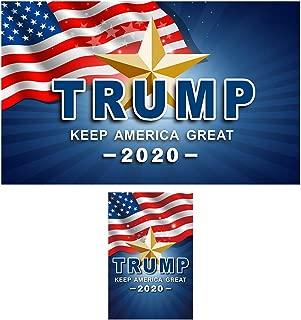 QSUM Donald Trump 2020 Flag 3x5 and Garden Flag 12x18 Kit