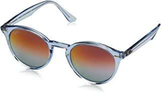 Ray-Ban RB2180 Round Sunglasses, Shiny Light Blue/Violet Gradient Mirror, 49 mm