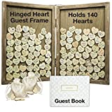 Wedding Guest Drop Top Frame Wedding Guest Book Alternative with 140 Blank Wooden Hearts, a...