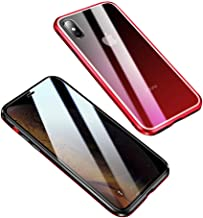 Privacy Screen iPhone 11 Pro 5.8 inch Magnetic Gradient Color Case Double Sided 9H Tempered Glass Metal Bumper Frame 360° Full Body Anti-Peeping Privacy Cover (Gradient Red, iPhone11Pro)