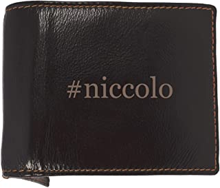 #niccolo - Soft Hashtag Cowhide Genuine Engraved Bifold Leather Wallet