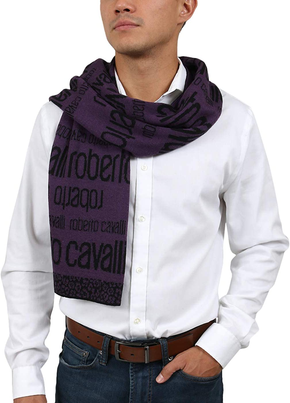 Roberto Cavalli ESZ068 03000 Purple Mens Sc New product!! Signature Blend Wool New Shipping Free