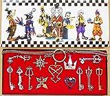 Kingdom Keys Hearts Keyblade Pendant Necklace Set Cosplay Accessories 13pcs Silver