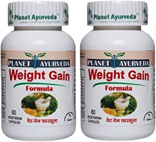 Planet Ayurveda Weight Gain Formula, 500mg Veg Capsules - 2 Bottles - Nature's answer for fitness