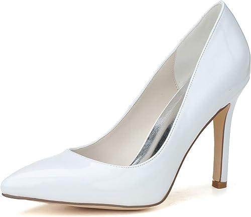 mujer Para Los zapatos De Boda Tacones altos En Punta De PU Bombas Vestido blanco Marfil   9.5 Cm Tacón,blanco,43