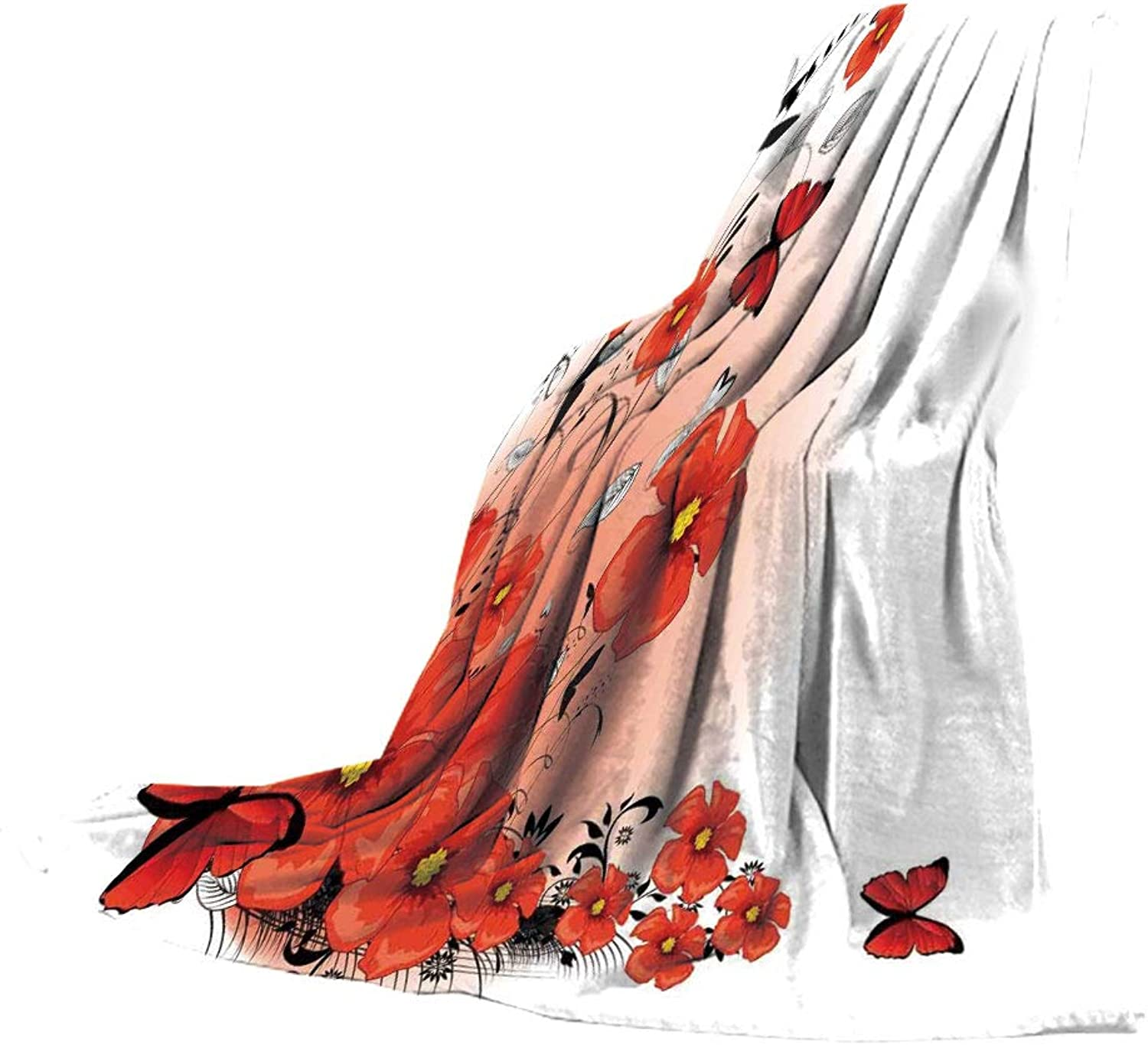 SCOCICI Blanket for Bed Couch Chair Fall Winter Spring Living Room,Poppy,Floral Flash Background with Butterflies Spring Season Hope Inspiration Theme,Red White Black,59.06  W x 86.62  H