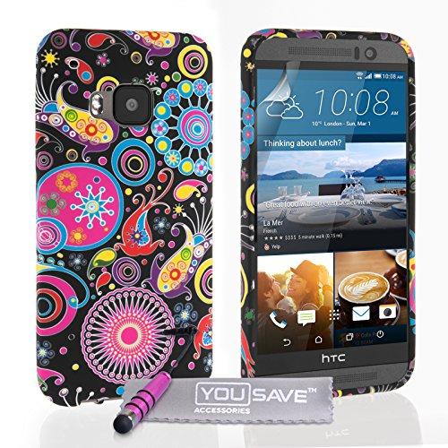 Yousave Accessories Custodia in Silicone Gel con Mini Stilo Penna per HTC One M9, Design Meduse, Multicolore