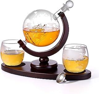 Whisky-Decanter Set Met 2 Geëtste Whisky Bril En Ovale Massieve Houten Lade, Unieke Wereldkaart Zeilen Uitstekend Cadeau V...