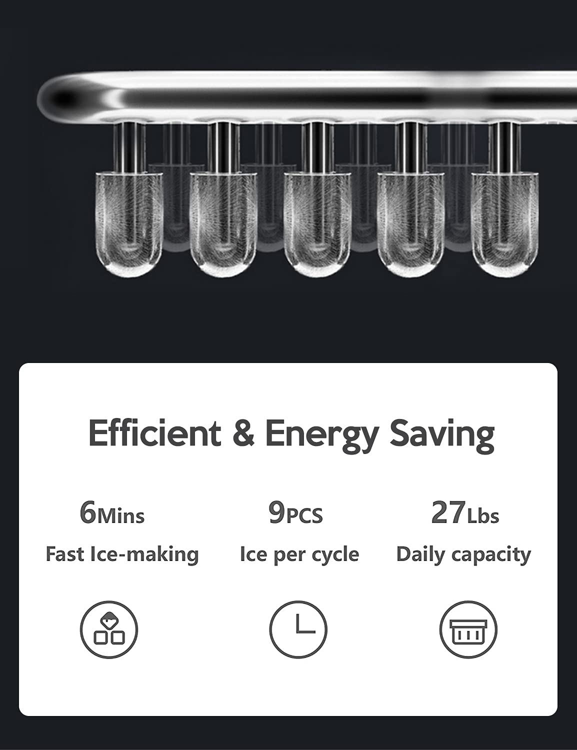Portable Ice Maker, 9 Ice Cubes Ready in 6-8 Minutes, ETL certificated Makes 26.5 lbs in 24 hrs, Ice Machine for Home/Kitchen/Office/Bar, with Ice Scoop and Bucket,Gray…