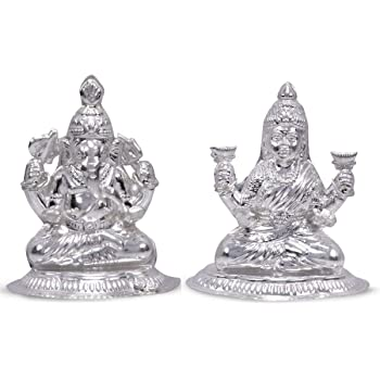 Buy Siri Creations 999 Pure Silver Lakshmi Ganesha Idol With