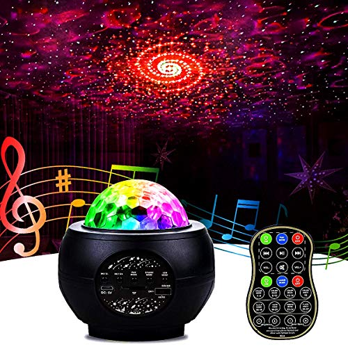 Ibello - Proyector de cielo con estrella, luz nocturna para niños, Galaxy Nova, música, lámpara de techo LED, diseño de nube Bluetooth