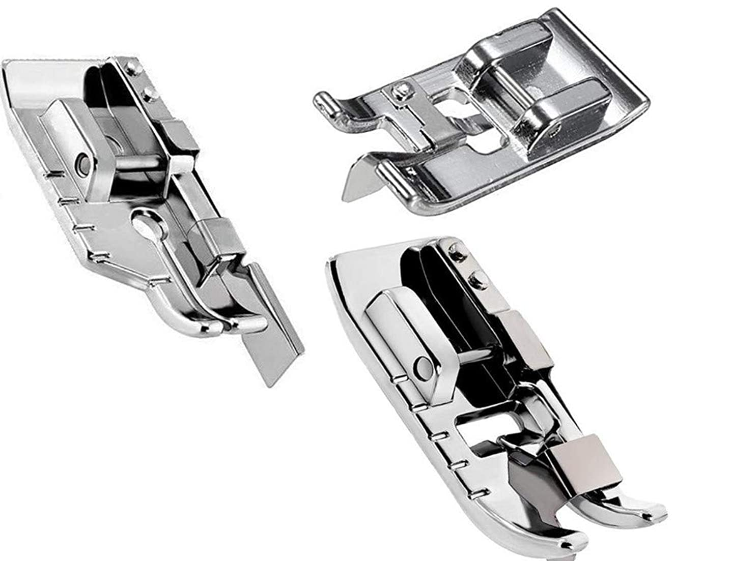 Pack of 1/4''(Quarter inch) Quilting Patchwork Sewing Machine Presser Foot with Edge Guide,Stitch in Ditch Foot/Professional Overcast Presser Foot for All Low Shank Snap-On Singer, Brother