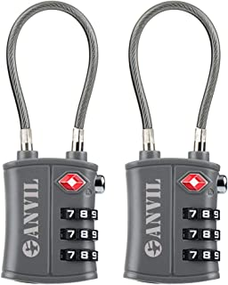 TSA Approved 3 Digit Luggage Cable Locks, Small Combination Padlock Ideal for Travel
