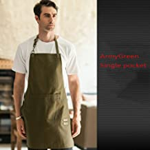 YZjk Canvas Aprons,Cook Apron for Chefs with Tool Bags,BBQ Shop Work with Adjustable Straps Bib Aprons ArmyGreen 78x57x20cm