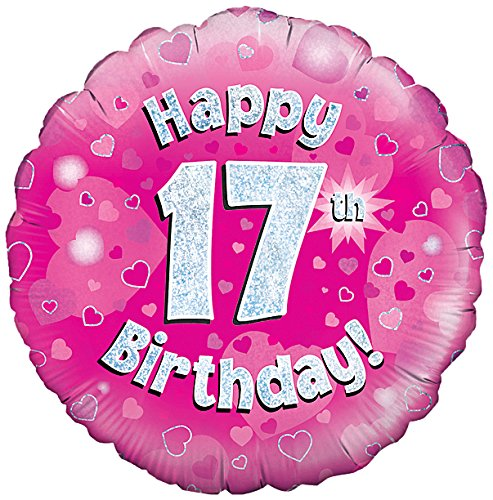 Oaktree UK 18 Happy 17. Geburtstag Holographisches Folie Design Luftballons, pink