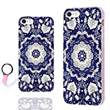 iPhone SE Case,iPhone 5S Case,iPhone 5 Case,ChiChiC Full Protective Case Slim Flexible Soft TPU Gel Rubber Cases Cover for Apple iPhone 5/5S/ SE 2016,Silvery Henna Mandala Datura Floral Flower on Blue