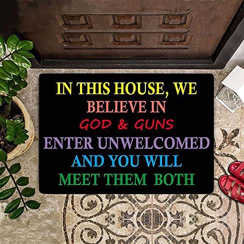 """TIANTURNM Felpudos Entrada casa En Esta casa Creemos en Dios - Alfombrilla de Bienvenida Alfombrilla de Puerta de Bienvenida Regalo Cristiano para Amantes Hogar Regalos 20""""x32"""""""