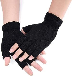 2Pair Unisex Half Fingerless Gloves Winter Gloves Men Stretchy Knit Fingerless Gloves in Common Size for Women and teenager