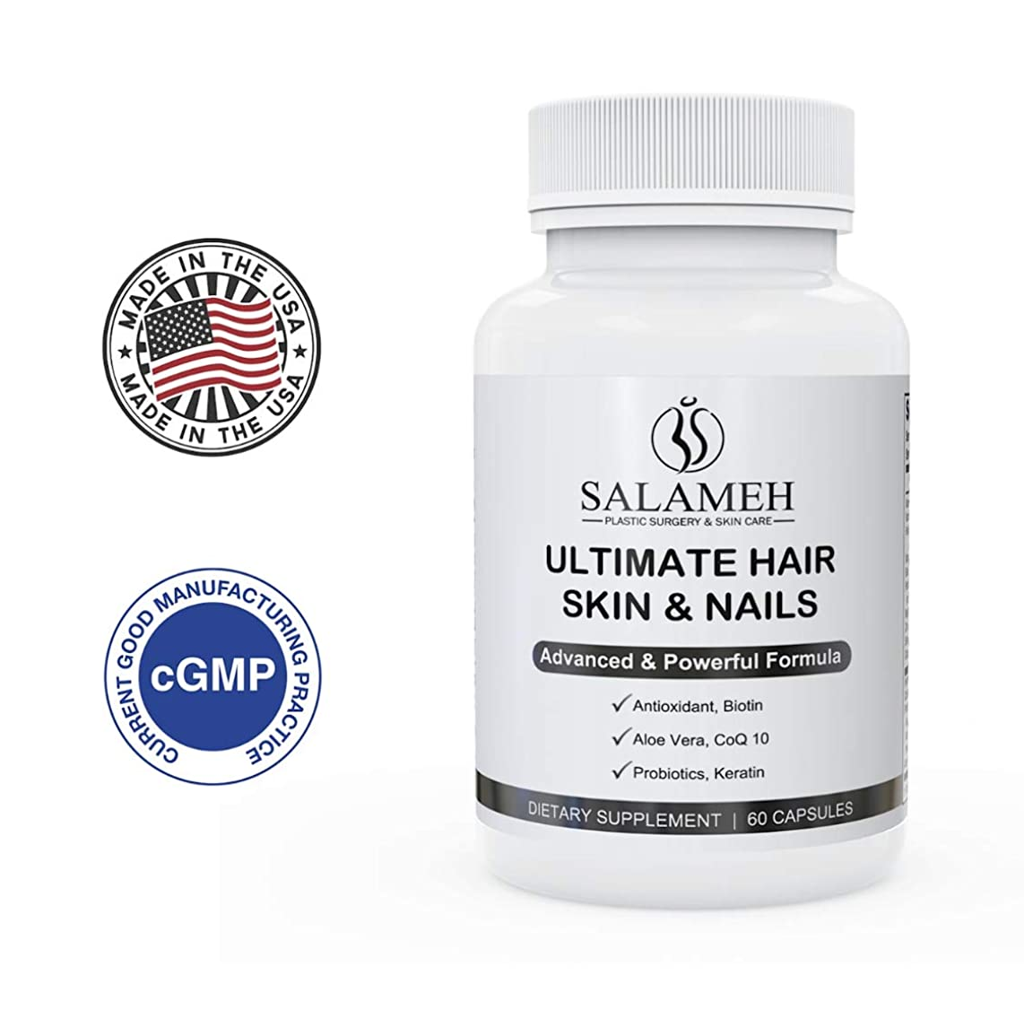 Salameh Ultimate Hair Skin and Nails Vitamins, Advanced Formula Dietary Supplement with Hydrolyzed Keratin, Biotin, CoQ10 and Probiotic Blend (60 Capsules)